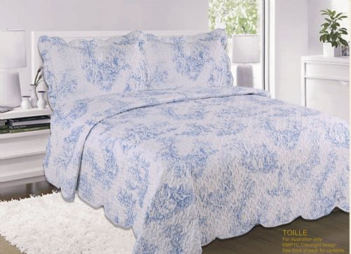 FRENCH COUNTRY COTTAGE QUILTED BEDSPREAD COMFORTER SET FLORAL TOILE DE JOUY BLUE